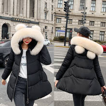 2019 Winter Clothes Cotton-padded Clothes Girls Long Fund A Word Loose Coat Cat Ears Student Thickening Cloak Down Cotton(China)