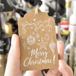 50 шт. для рождественской вечеринки Craft Бумага повесить ярлычок, знак внимания этикетка цена Рождественский подарок карты