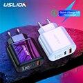 USLION 3A светодиодный дисплей USB зарядное устройство с европейской вилкой Быстрая зарядка 3 0 настенное быстрое зарядное устройство s для iPhone 11 X...