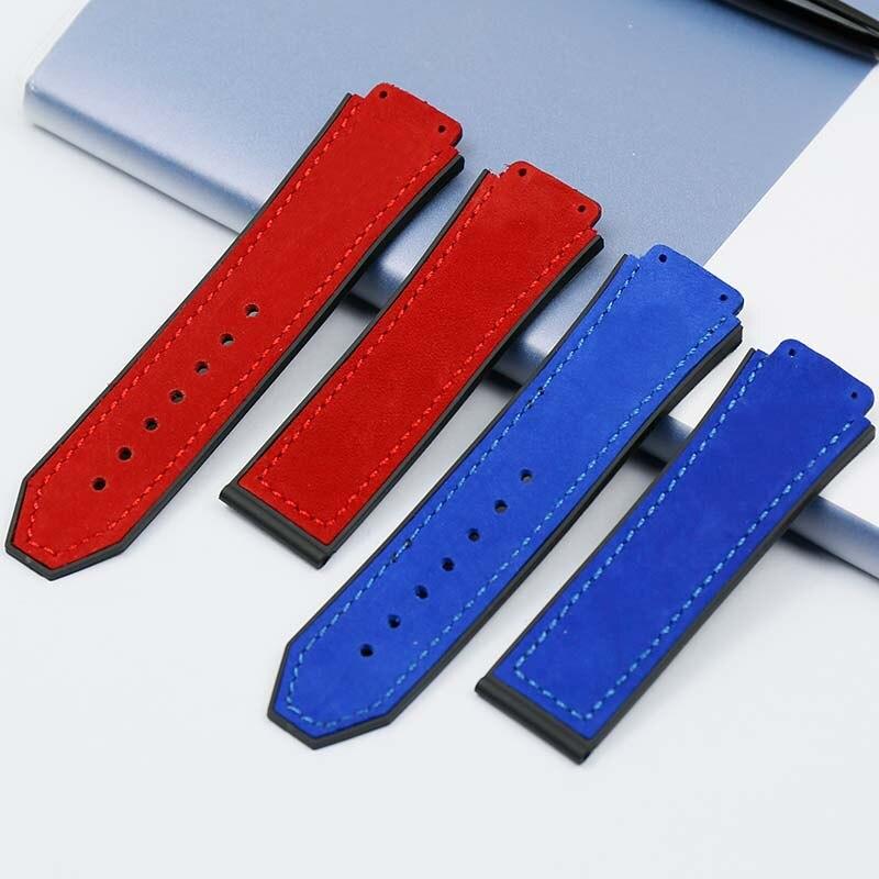 Pulseira de couro masculino 25mm x 19mm pulseira de borracha dobrável fecho para hublot grande pulseira explosiva acessórios de relógio