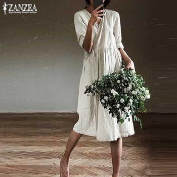 Kaftan plisado Mediados de pantorrilla Vestido de verano de las mujeres 2020 ZANZEA elegante encaje hasta cuello pico Vestido de manga larga túnica de talla grande