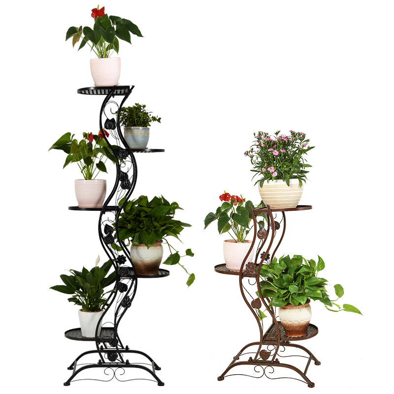 Style Airs Iron Art Originality Green Luo Chlorophytum To Ground Indoor Multi storey Flower Rack Balcony Meaty Flowerpot Frame|Plant Shelves| |  - title=