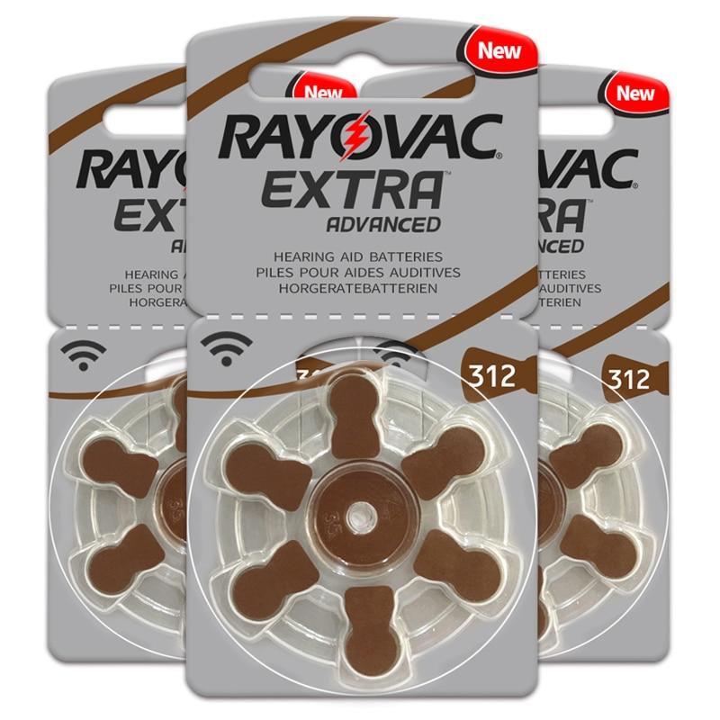 Hearing Aid Batteries 60 PCS/1 Box RAYOVAC EXTRA-A312/312/PR41 Zinc Air Batterie 1.45V   Size 312 Diameter 7.9mm Thickness 3.6mm