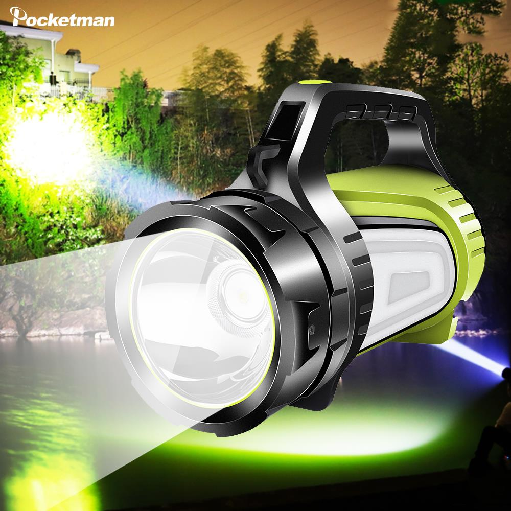Most Powerful Rechargeable Searchlight LED Flashlight Handle Spotlight Ultra-long Standby Torch With USB OUTPUT As A Power Bank