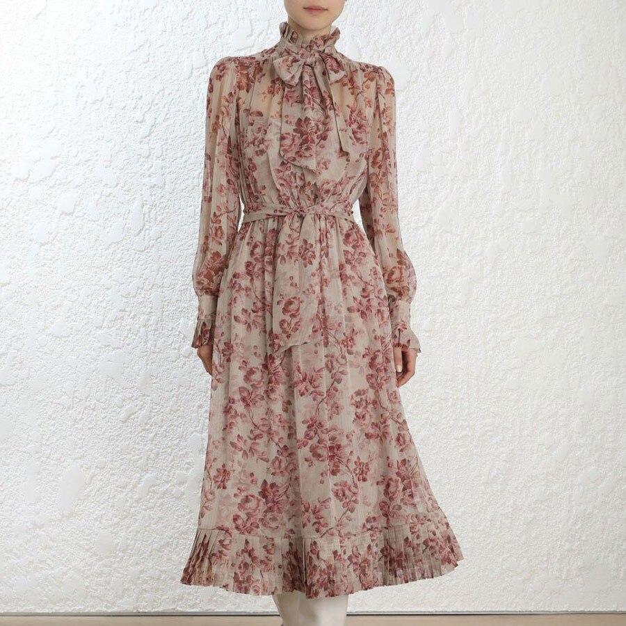 2018 الخريف أحدث زهرة طباعة المرأة فستان طويل وردي فاتح عالية الجودة أنيقة اللباس 2 قطعة مجموعات انكلترا نمط Vestidos-في فساتين من ملابس نسائية على  مجموعة 1