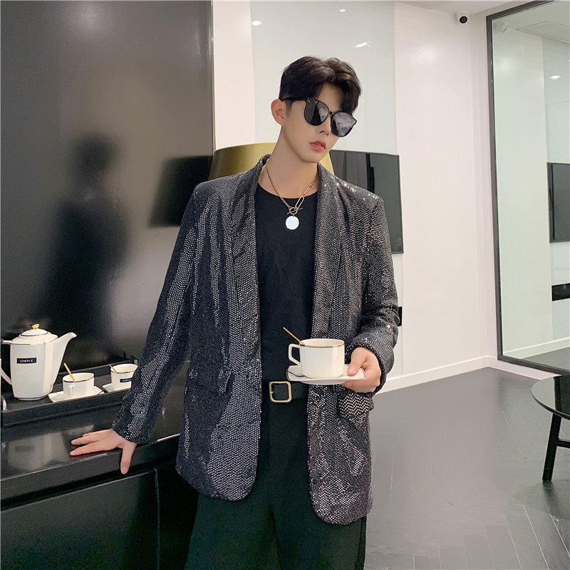 Autumn Fashion European And American Sequin Suit Jacket Men Korean Trend Personality Suit Stage Performance Clothing Tide