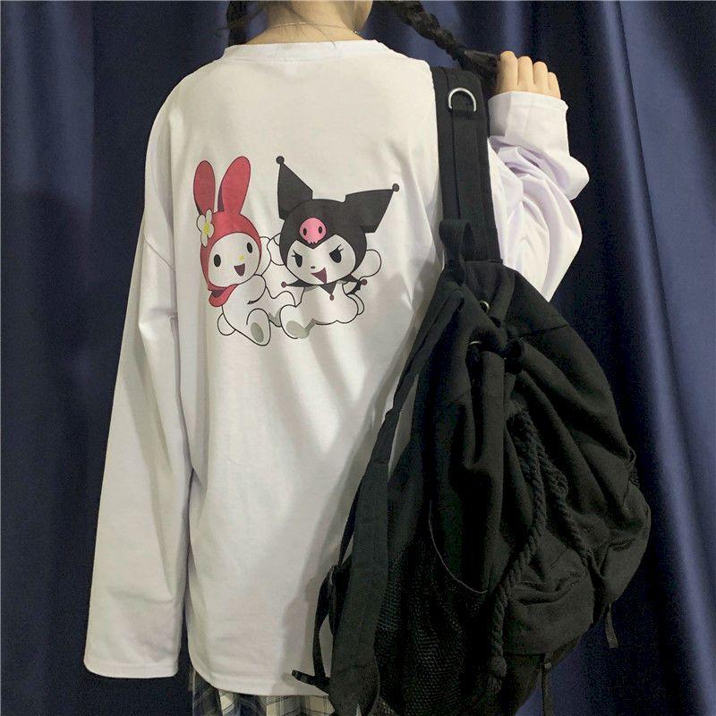 new prep t-shirt women t shirt Japanese ins college cartoon Kuromi printing loose long-sleeved T-shirt female soft girl student 3