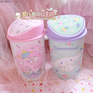Image 5 - My Melody Cinnamoroll Pudding Dog Little Twin Star Action Figure Cartoon Household Trash Can With Lid Kitchen Bathroom Waste Bin