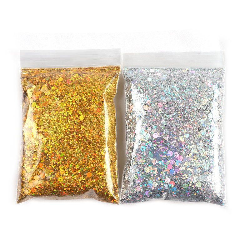 50g/Bag Holographic Nail Glitter Powder Colorful Mixed Size Hexagon Flakes Sequins Nail Art Decoration Pigment Dust