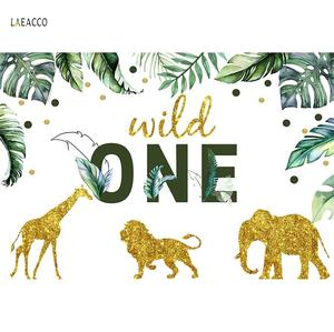 """Image 2 - Cartoon Tropical Jungle Forest Safari Party Photo Backdrop """"Wild One"""" Baby Birthday Party Photography Background For Photostudio"""