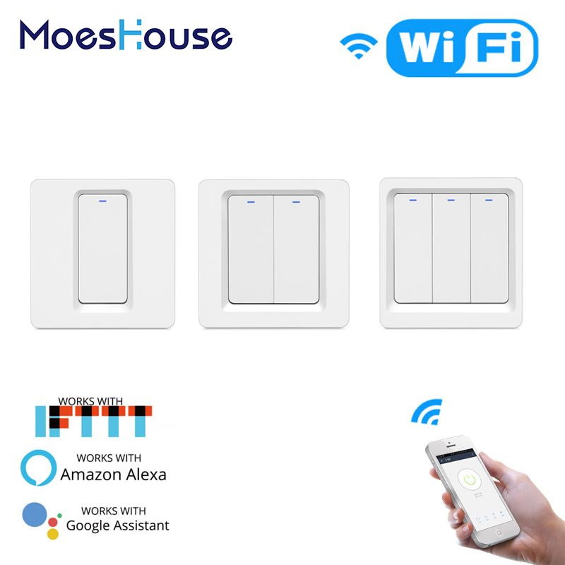 WiFi Smart Light Switch Push Button Smart Life/Tuya APP Remote Control Works With Alexa Google Home For Voice Control 1/2/3 Gang