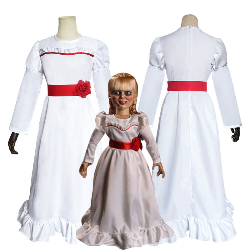 Wholesale The Conjuring Doll Annabelle Cosplay Costume Halloween Horror Fancy White Dress Kids Adult