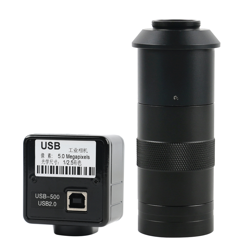 5.0MP USB Video Camera Electronic Digital Eyepiece Microscope Free Driver Measurement Software High Resolution+100X C-MOUNT Lens