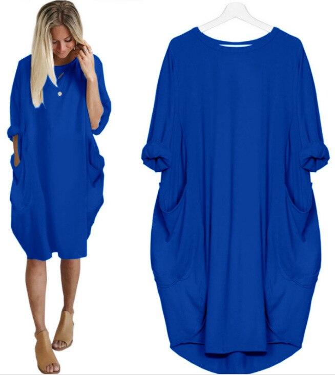 Женское платье-рубашка с карманами, Повседневное платье средней длины с длинным рукавом, большие размеры, лето 2021