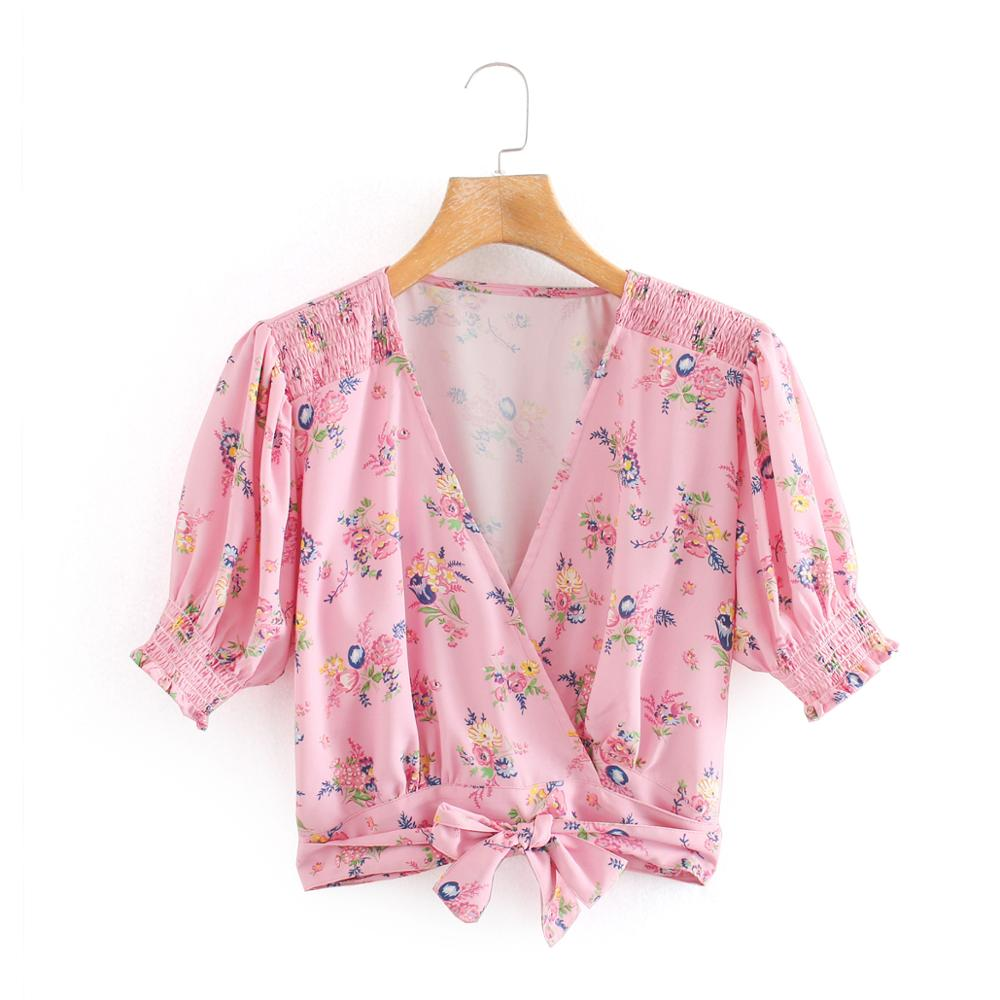 New 2020 Women V Neck Flower Print Casual Slim Pink Blouse Female Puff Sleeve Hem Bow Tied Kimono Shirts Chic Blusas Tops LS6634