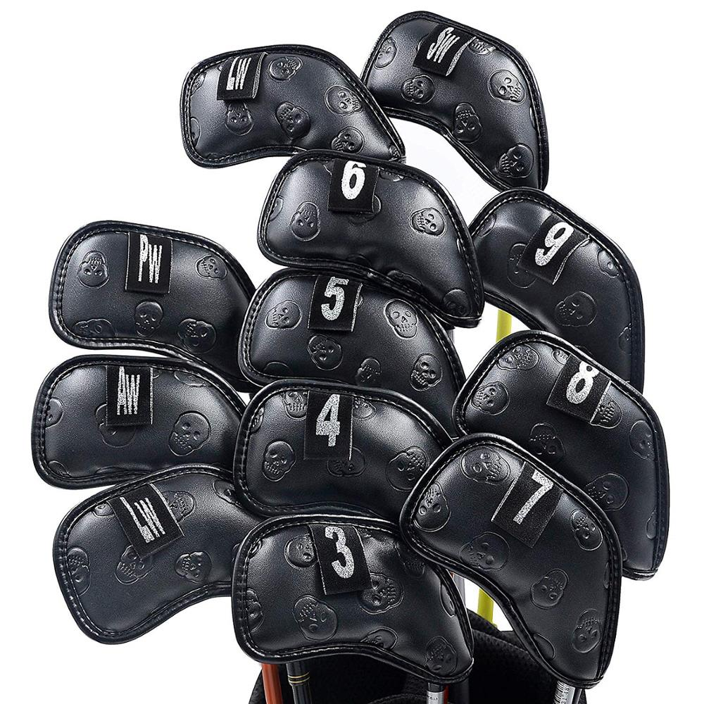 NEW Original Champkey Monster Skull Golf Iron Head Cover Pack Of 12pcs Black Color Premium Club Covers