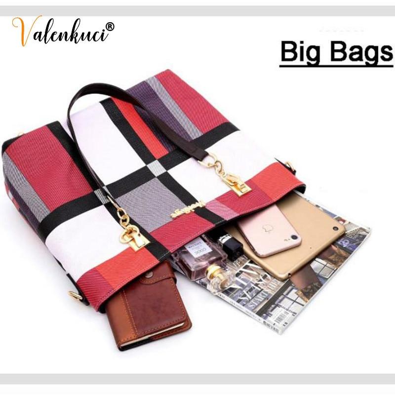 New Fashion Luxury Handbags New 6 PCS Set Women Plaid Colors Handbag Female Shoulder Bag Travel Shopping Ladies Crossbody Bag 5