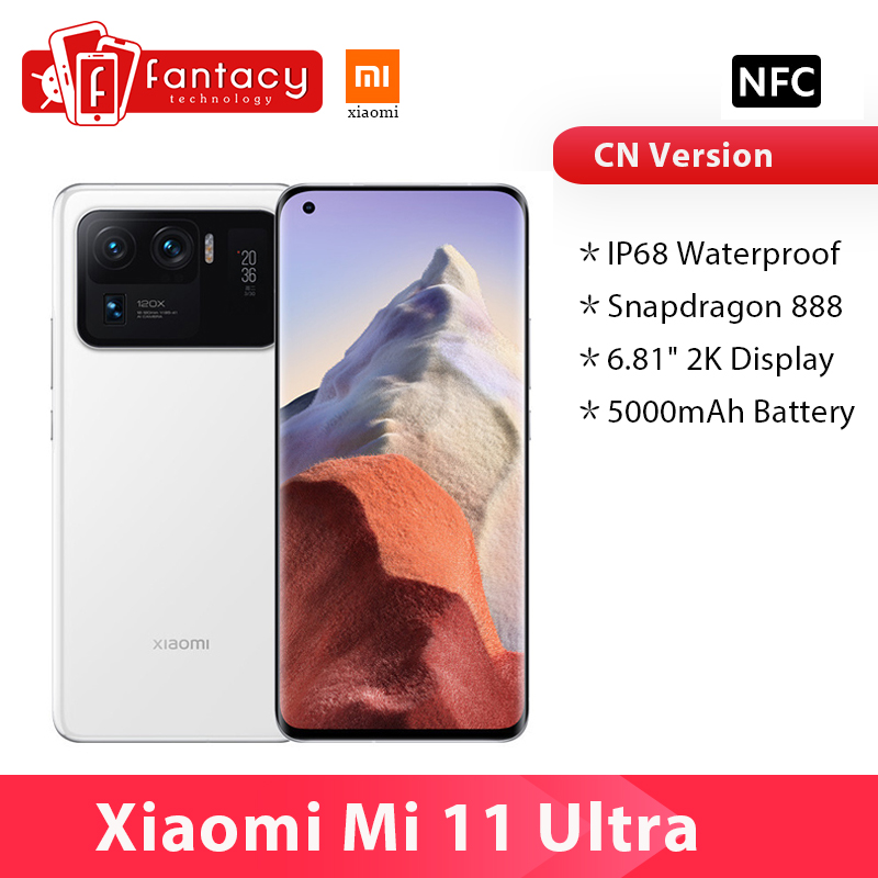 גרסה הסינית Xiaomi Mi 11 Ultra Smartphone 12GB RAM 256GB ROM Snapdragon 888 אוקטה Core 50MP 120X זום מצלמה 5000mAh סוללה