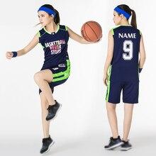 6 цветов, набор, индивидуальный логотип, имя, номер, женские баскетбольные шорты для униформы, униформа для женщин, для колледжа, спортивная одежда, комплект с поездом, сухая посадка