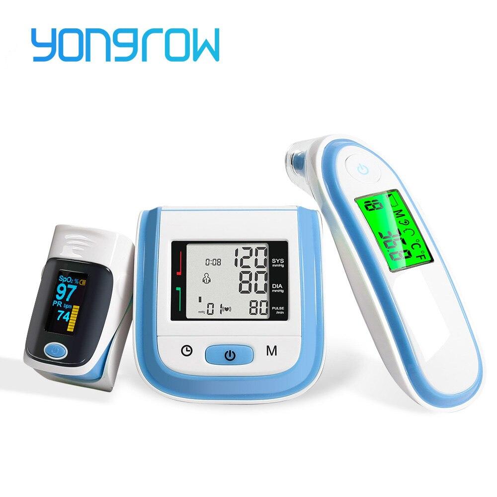 Yongrow Digital Medical Pulse Oximeter SpO2 Wrist Blood Pressure Monitor Ear Infrared Thermometer Oxygen PR Sphygmomanometer