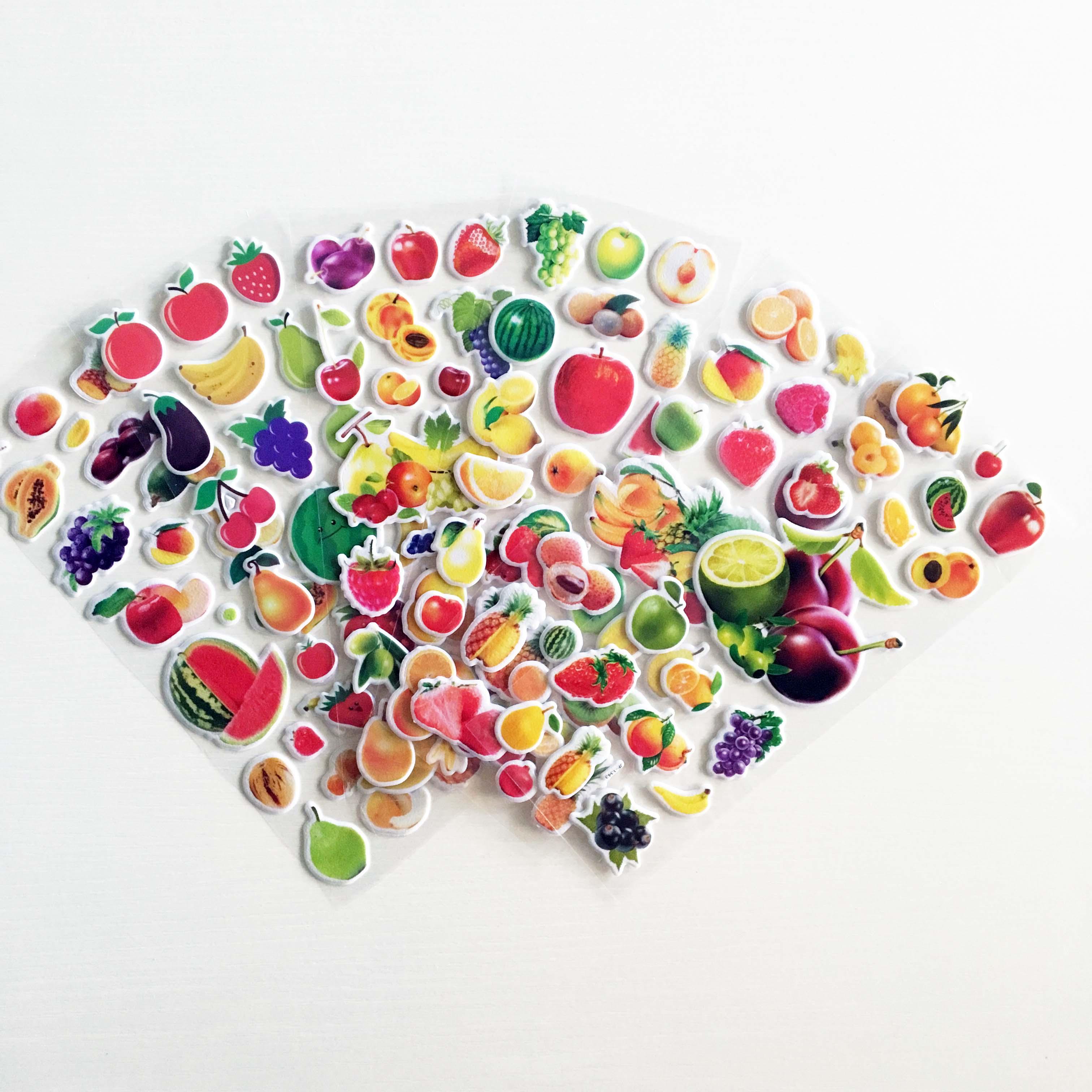 6 Pcs Fruits 3D Stickers Kids Children Girls Boys PVC Stickers Bubble Stickers Toy For Children Birthday Gift DIY