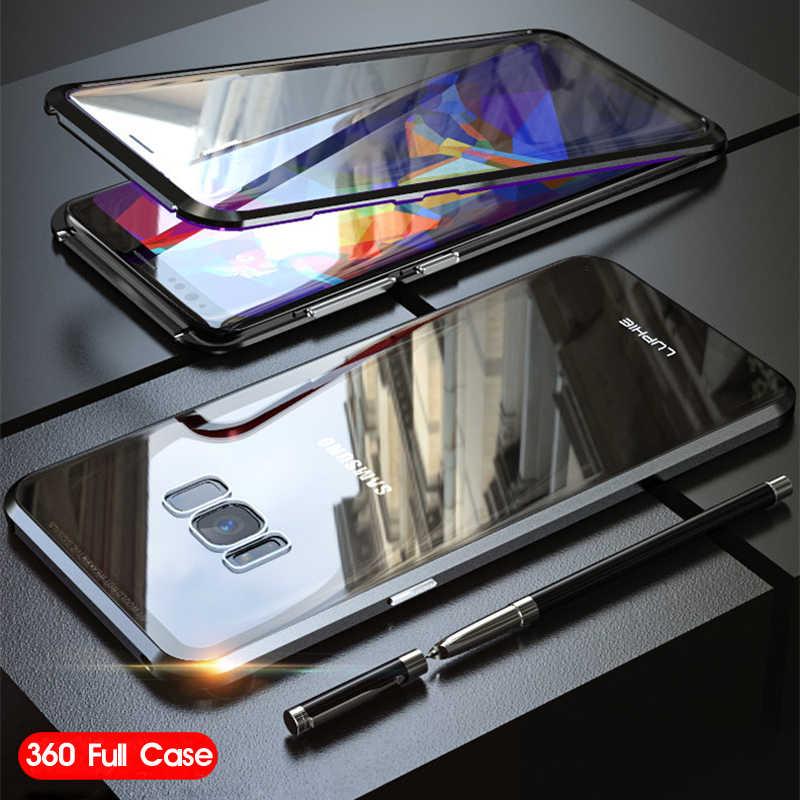 360 Volledige Case Voor Samsung Galaxy S8 Plus S8Plus S9 Note 9 8 Magnetische Metalen Bumper Gehard Glas Cover Voor samsung S8 Case coque