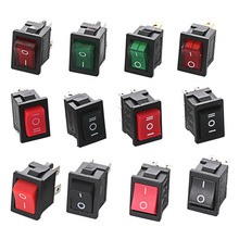 Free shipping 5PCS KCD1 2/3/4/6 Pin Rocker Switch 6A/250V AC 10A/125V AC Snap-in On/Off Boat car power Switch With Light