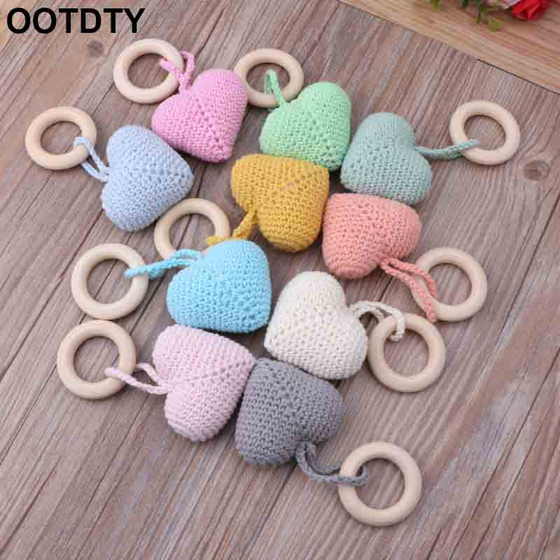 Wooden Natural Crochet Baby Infant Teether Teething Ring Jewelry Teething Toys