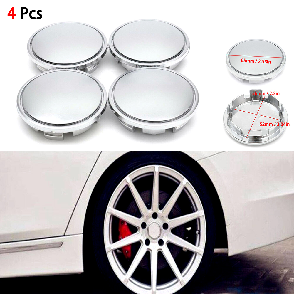 4pcs 56MM Silver Chrome ABS Plastic Flat Surface <font><b>Car</b></font> <font><b>Wheel</b></font> Center <font><b>Hub</b></font> Caps Universal <font><b>Cover</b></font> Auto Rim Tire Hubcap image