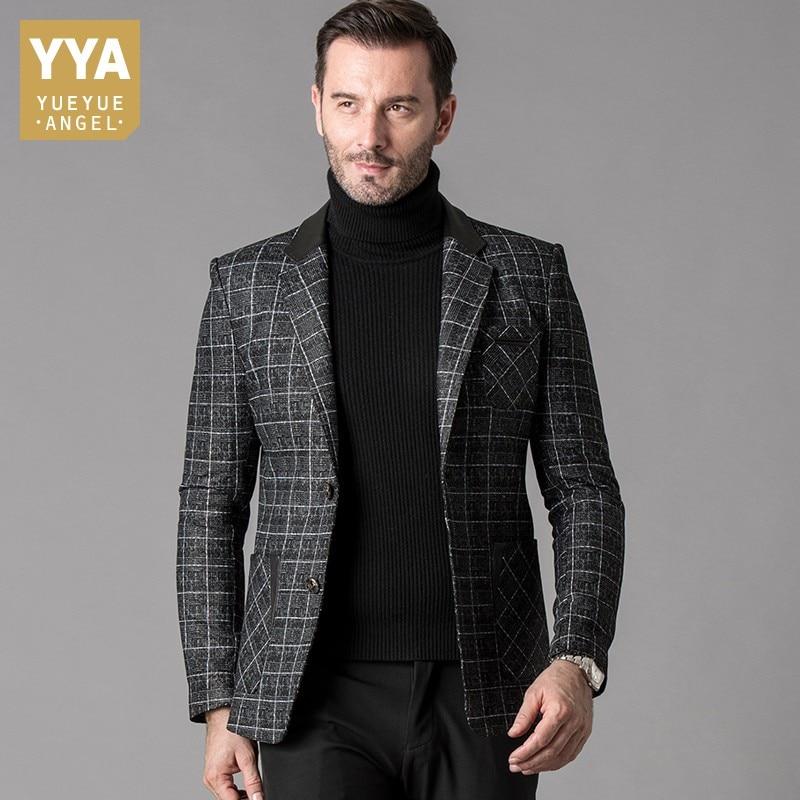 Luxury Mens Sheepskin Genuine Leather Formal Suit Jacket Slim Fit Business Man Plaid Blazer Coat Wedding Party Dress Jackets 5XL