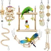 8 шт/компл деревянные подвесные игрушки для попугая гамак лазание