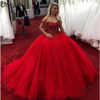 2019 Red Sweetheart Quinceanera Dresses Ball Gown Lace Up Tulle Crystal Beaded Sweet 16 Dresses vestido 15 anos Prom Dress