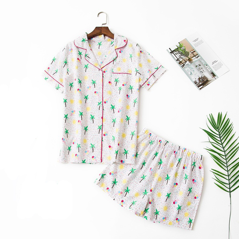 Pajamas For Women Summer Cotton Pajama Set New Women Short Sleeve Cartoon Sleepwear Casual Large Size Nightgown Women Pajamas