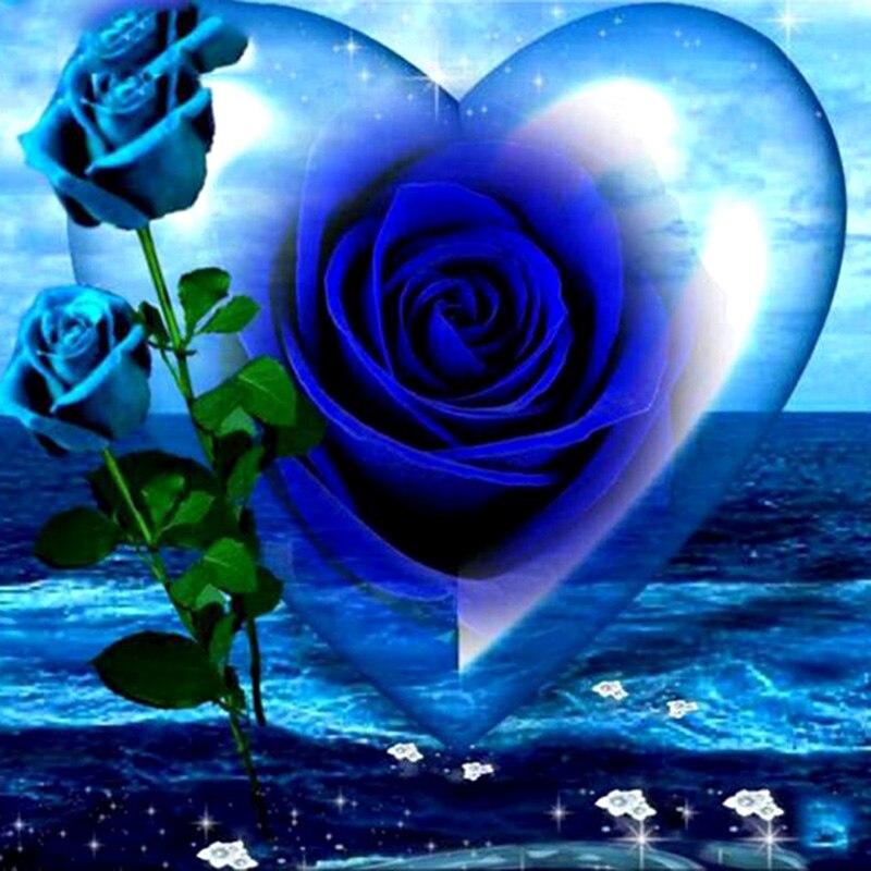 """Broca quadrado completo 5d diy pintura diamante """"flor rosa azul"""" 3d bordado ponto cruz mosaico decoração da sua casa"""