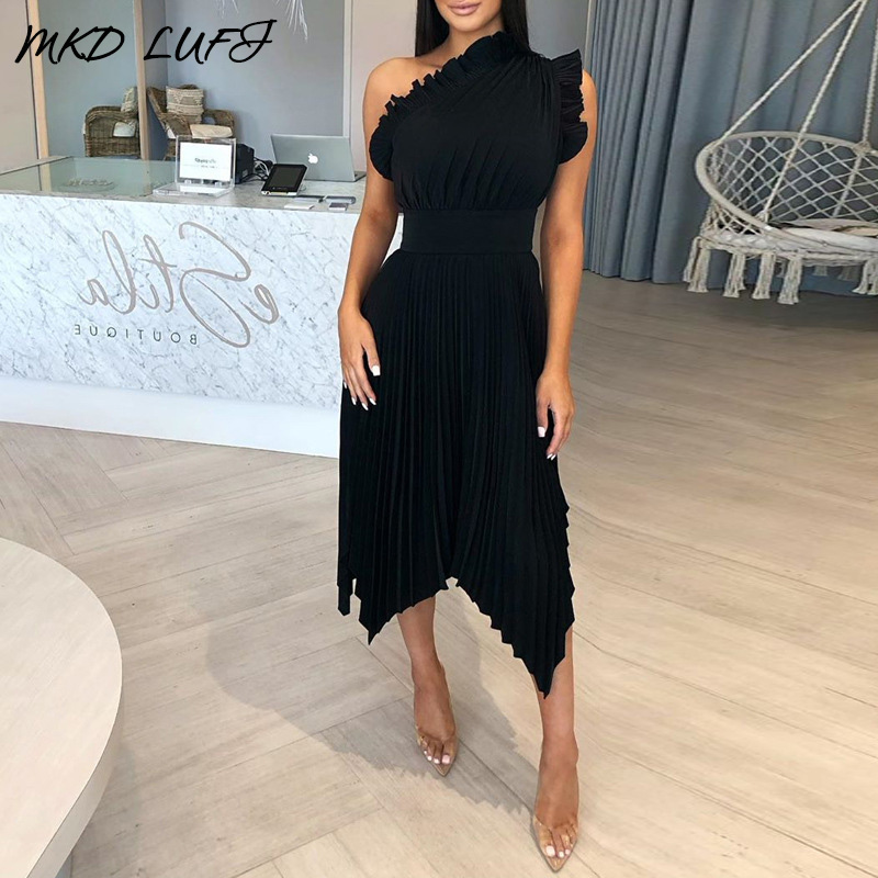 Solid Ruffles Tight Waist Irrugular Hem Pleated Dress Women Sexy One Shoulder Sleeveless Mid-calf Night Party Dress Clubwear