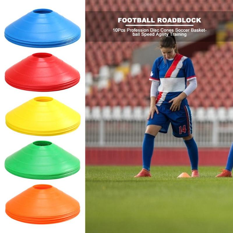 10pcs/lot Football Sign Disc Outdoor Soccer Cross Speed Agility Training Discs Cone Space Marker