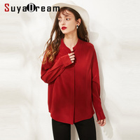 SuyaDream Women Solid Silk Blouses Stand Collar Long Sleeved Office Lady Blouse Shirt 2019 Wine Shirts