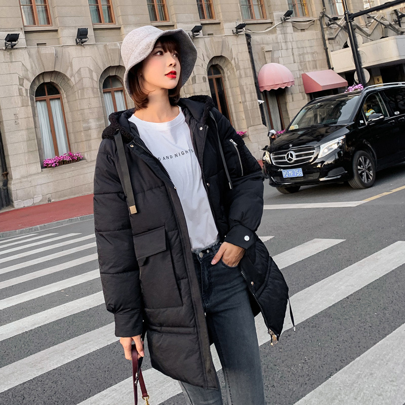 2019 Winter New Style WOMEN'S Dress-Style Cotton-padded Clothes Women's Korean-style Hooded Fat Mm Casual Down Feather Cotton Ja