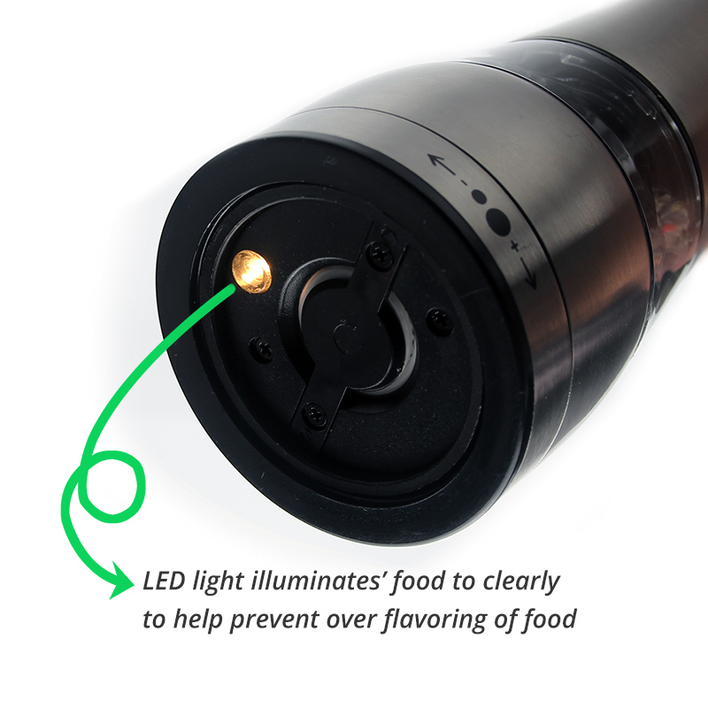 Electric Salt and Pepper Grinder - Battery Operated with LED Light -  Adjustable Coarseness Mills for kitchen