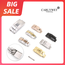 цена на CARLYWET 16mm x 9mm Top Quality Stainless Steel Watch Band Deployment Clasp For Rolex Bracelet Rubber Leather Oyster Submariner