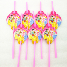 10pcs/lot Ariel/Snow White/Belle/Cinderella/Jasmine/Aurora Princess Party Supply Decoration Disposable Tableware Drinking Straws