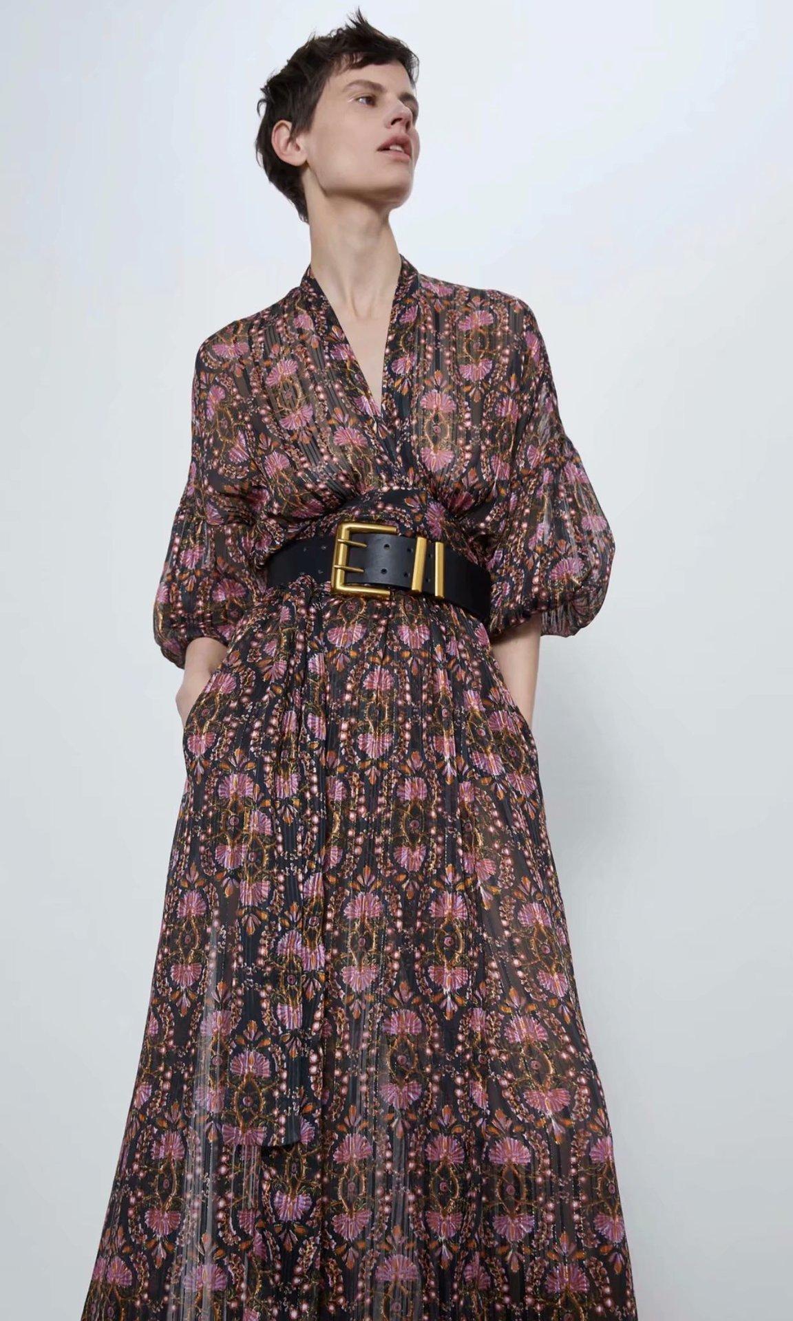 2020 New Spring Summer New Style European Streetwear Floral Printed Female Dress Zaraing Vadiming Sheining Women Dress XDN9457