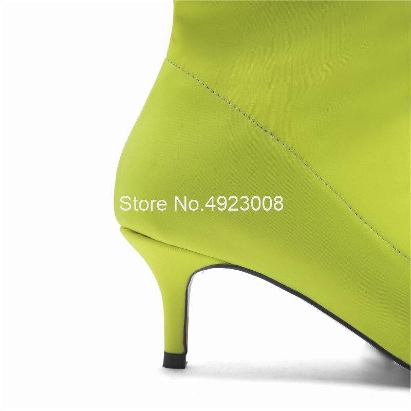 Эластичные зеленые сапоги из лайкры женские сапоги выше колена на среднем каблуке 5,5 см новые демисезонные сапоги до бедра без застежки Бол... - 5