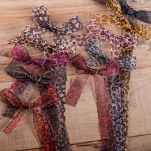 100yards 10 16 25 38mm printed leopard organza sheer ribbon for girl hair bow fashion accessories diy craft supplies bouquet