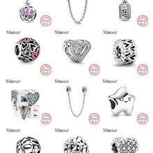 Оригинальный браслет Pandora, 925 пробы, серебро, бесконечность, сердца и звезды, любовь, пара бусин, сделай сам, ювелирное изделие, Berloque
