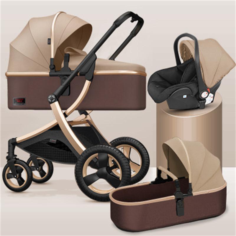 2021 New Pram Hohe Landschaft Baby Kinderwagen 3 in 1 Kinderwagen Zwei Weg Leichte Auto Neugeborenen Baby Kinderwagen Mit Auto sitz