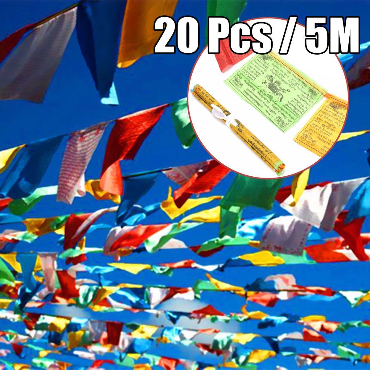 1 Set 20pcs Tibetan Buddhist Prayer Flags 5 Different Colors Polyester Religious Tibet Style Decorative Flag 15x27cm