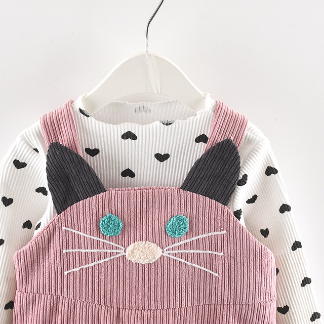 Cute Cat Strap Clothes Sets for Girls 4