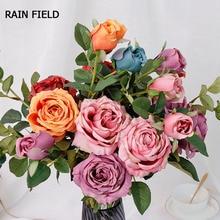 2 European Roses Artificial Flowers Decorative Eternal Rose for Decor The Wedding Flower Bouquet Silk