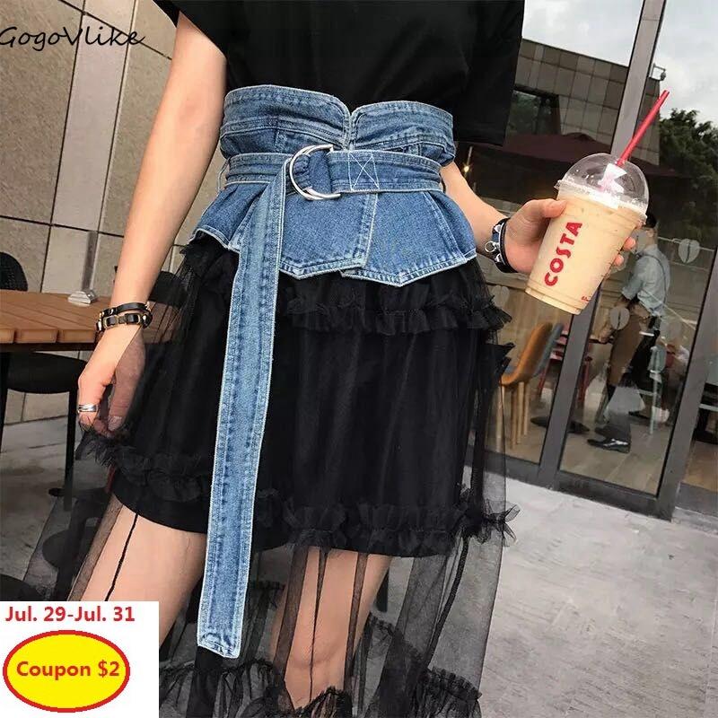 Vintage Jean cummerbund belt 2018 New Fashion Denim Slim Wide waist Punk Belt for woman clothes Dress accessories BT081S30